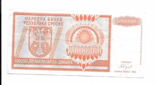 difícil billete de bosnia.  1.000.000.000 dinar 1993