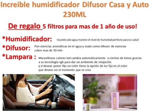 difusor humidificador aromaterapia casa y auto premium