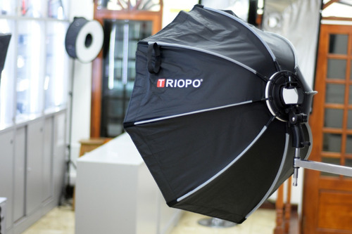 difusor triopo hexa softbox 90cm c/ rotula p/ flash zapata