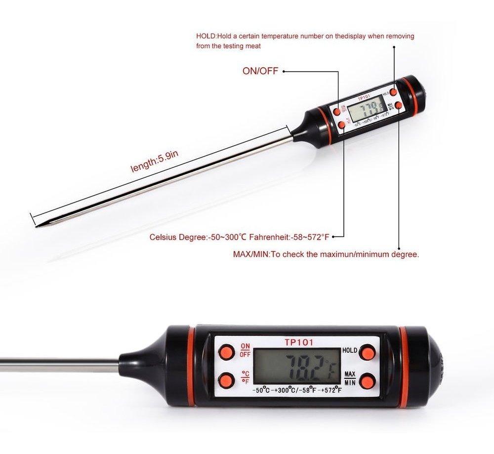 Ba30DEllylelly Hogar Cocina digital Sonda de alimentos Carne Cocina Cocina BBQ Sensor seleccionable Term/ómetro Equipo de medici/ón de alimentos