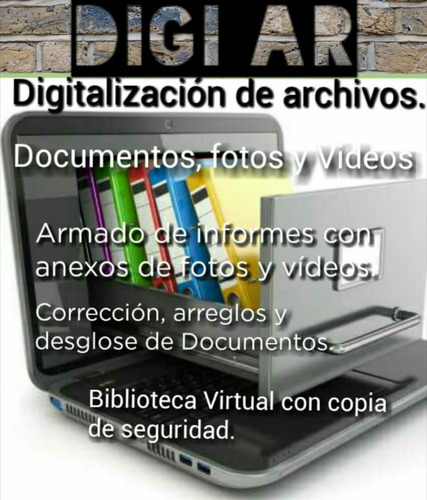 digitalización de archivos, documentos, fotos.