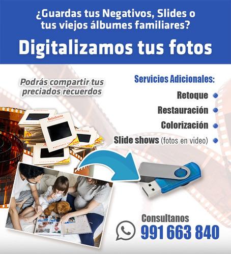 digitalización de negativos, slides, foto album.