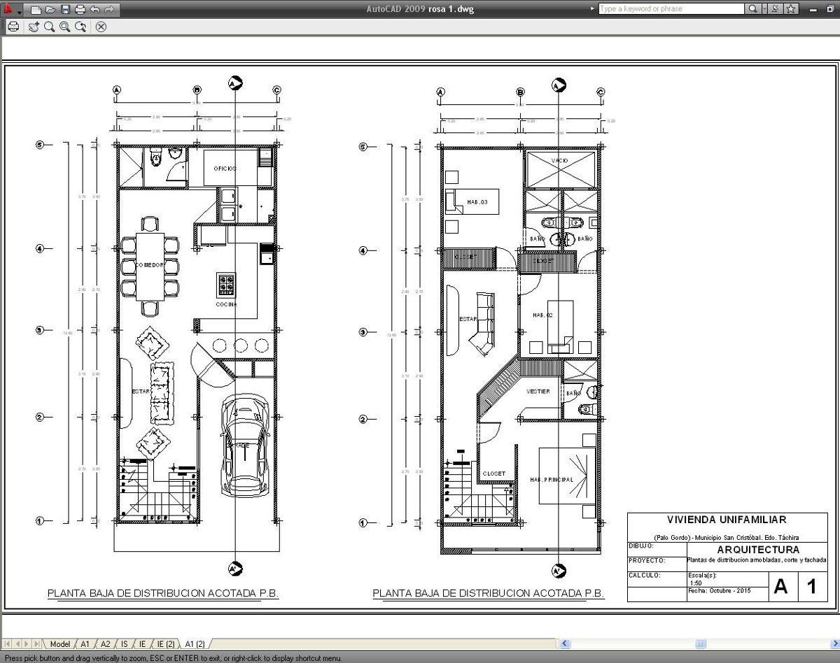 Digitalizacion de planos en autocad bs 35 00 en mercado for Planos de cocinas autocad