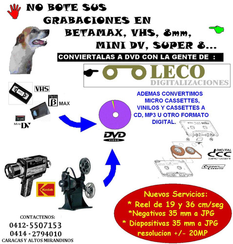 digitalizacion de vhs,8mm,betamax,mini dv,lp,kct - dvd cd