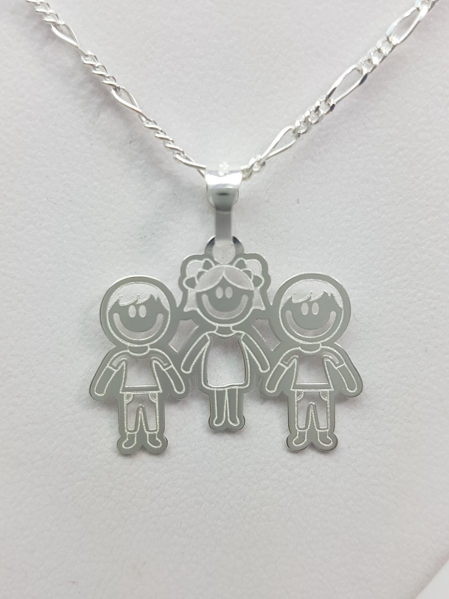f1b81745b366 dije 2 niños y 1 niña juntos plata ley .925 incluye cadena. Cargando zoom.
