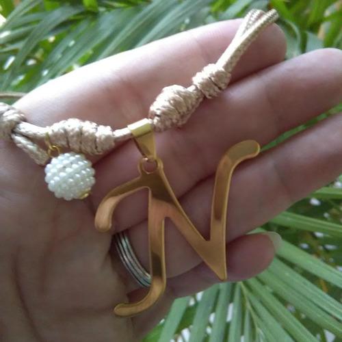 dije acero inicial letras collar cuero cadena venezuela