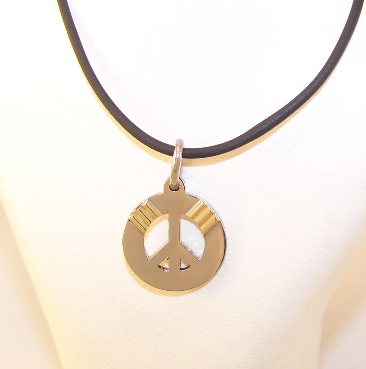 b19bbc68dedb dije acero quirurgico con oro simbolo paz. Cargando zoom.