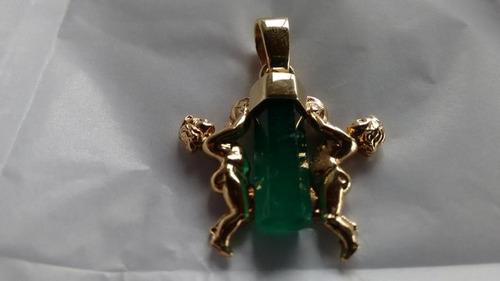 dije angeles esmeralda natural canutillo 4 kilates con 4 oro