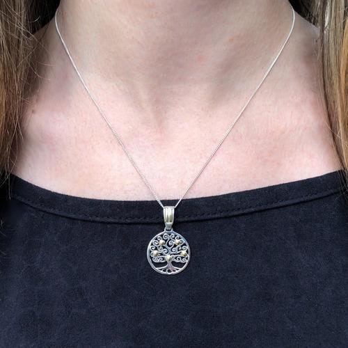 dije arbol de la vida plata y oro cadena de plata 925 (i544)
