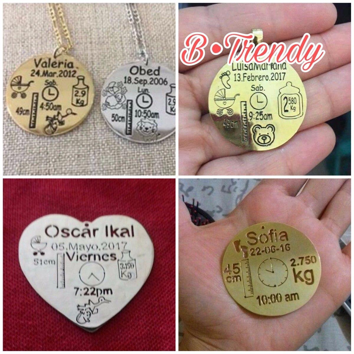 003a43996760 Dije + Cadena Bebé Nacimiento Personalizado Chapa Oro O Plat