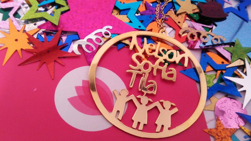 dije cadena collar circulo personalizado accesorios joyeria