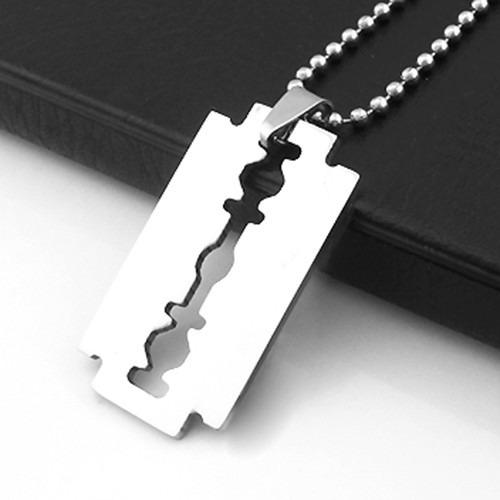 dije cadena diseño cuchilla acero inoxidable - color plata