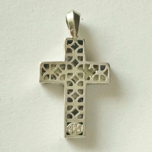 dije caja de cruz con hojas de plata sólida .925 sterling