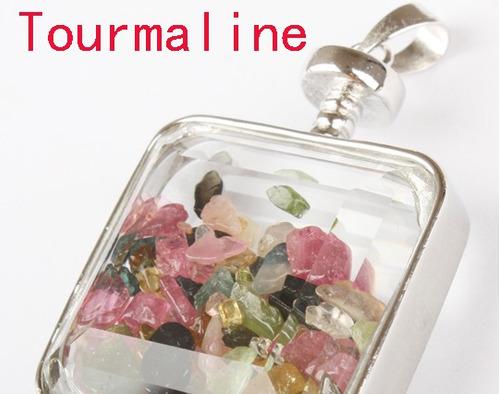 dije cajita de cristal con piedras naturales! en l