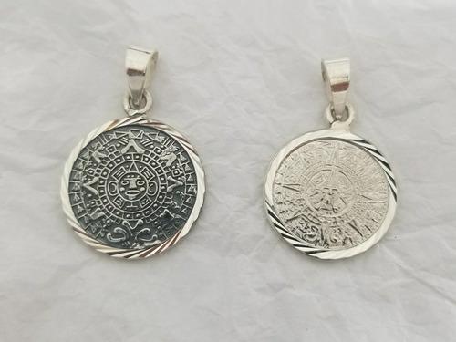 dije calendario azteca diamantado oxidado y blanco plata 925