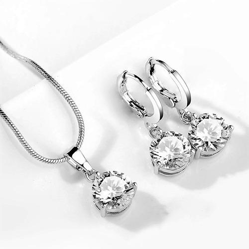 dije collar juego de aretes zirconias brillante cadena joyas
