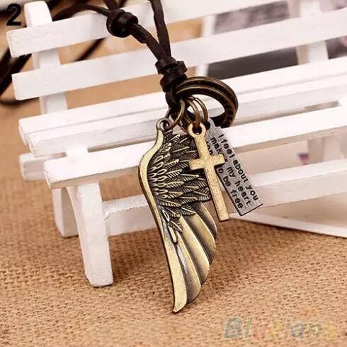dije collar vintage alas cuero hombre mujer accesorio unisex