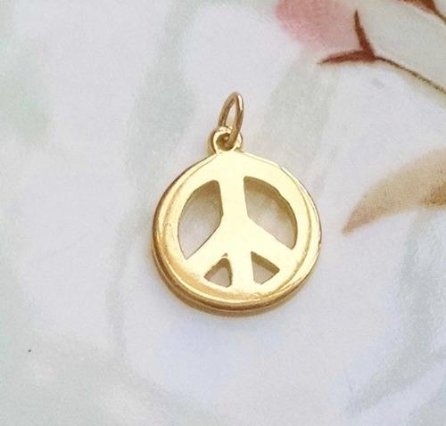 dije con aro amor y paz en oro amarillo solido de 14k