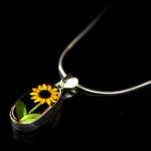 dije con girasol ovalo trans joyeria floral plata 925