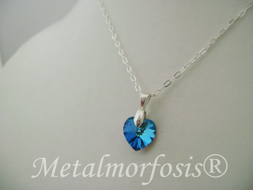 dije corazon cristal swarovski con cadena de plata 925