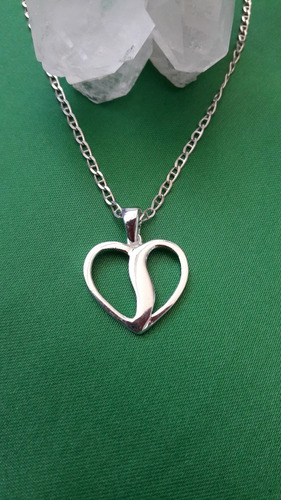 dije corazón dividido colgante  de plata 9.25 san valentín