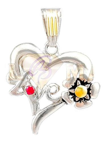dije corazon love de plata 925 y oro + estuche garantia !!!