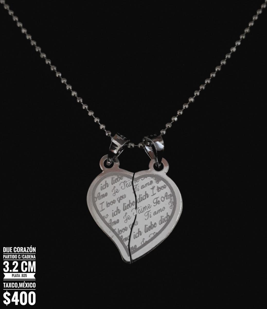 9452dceaeb8e Dije Corazón Partido 2.2cm C cadena Plata .925 Taxco