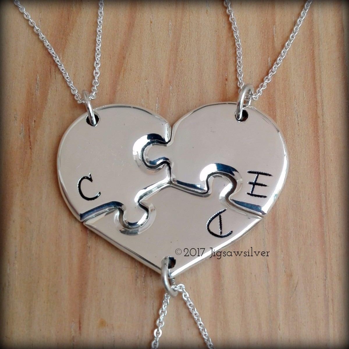 5d879f4a845c dije corazón rompecabezas 3 piezas personalizado. plata fina. Cargando zoom.