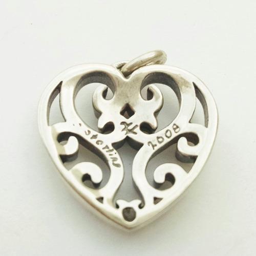 dije corazón victoriano grande de plata sólida .925