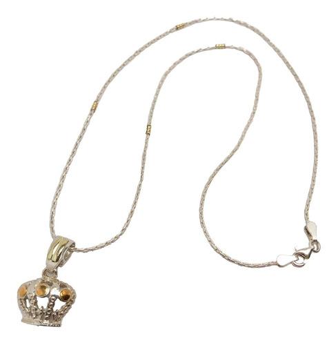 dije corona con cadena plata y oro maciza (d282)