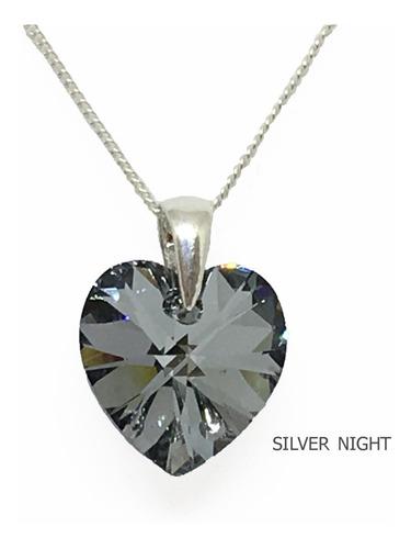 dije cristal de swarovski corazón 14mm cadena plata 925 (g)