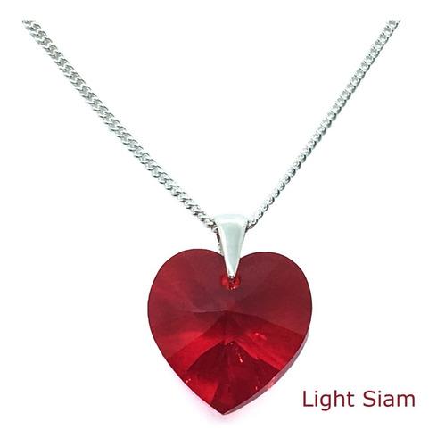 dije cristal de swarovski corazón 18 mm y cadena plata 925