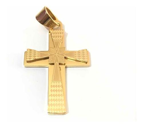 dije cristo cruz acero enchape en oro 18k