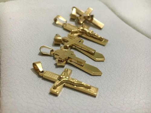 dije cristo cruz padre nuestro grabado acero enchape oro 18k