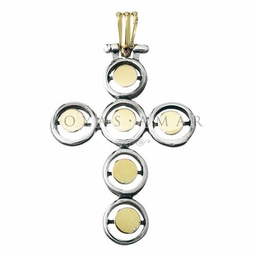dije cruz circulos modelo especial grande plata y oro