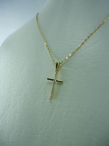 dije cruz con zircones en oro amarillo 18k ref: 28153