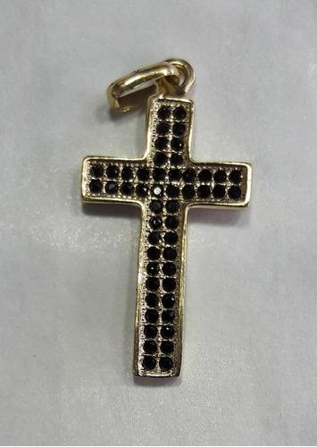 dije cruz en oro italiano 18k ley 750 con circones suizos