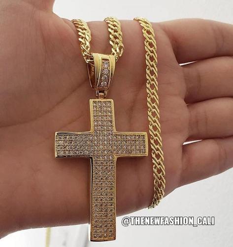 dije  cruz extra grande en oro laminado de 18k