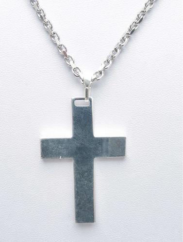 dije cruz lisa maciza en plata 925