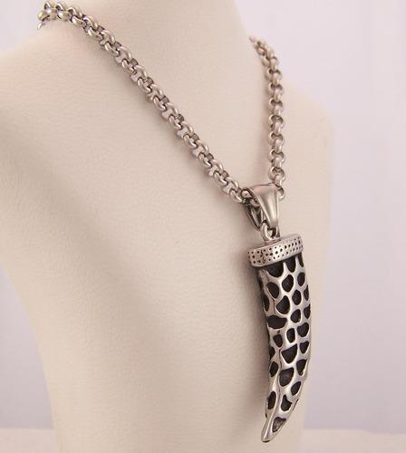 dije cuerno acero quirúrgico combinado esmaltado + cadena