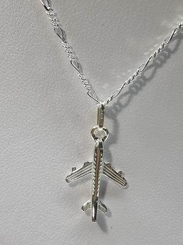 dije de avión plata ley .925 incluye cadena