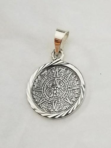 dije de calendario azteca diamantado en plata ley 925