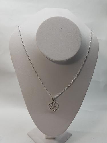 dije de corazon con mariposa plata ley .925 con cadena mod01