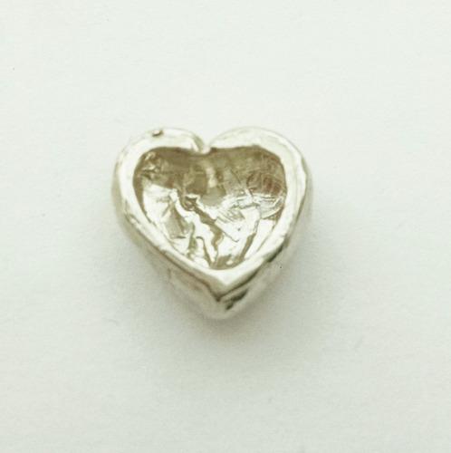 dije de corazon roto de plata sólida .925 sterling
