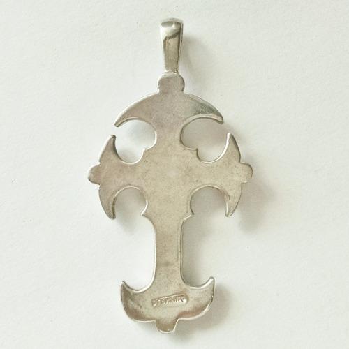 dije de cruz gotica trenzada de plata sólida .925