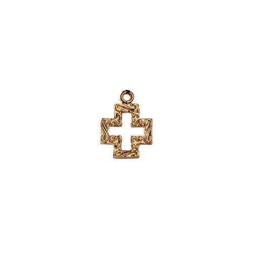 dije de cruz s con cadena de ancla en chapa de oro