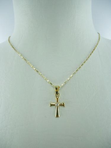 dije de cruz y cadena en oro amarillo 18k ref: 28154