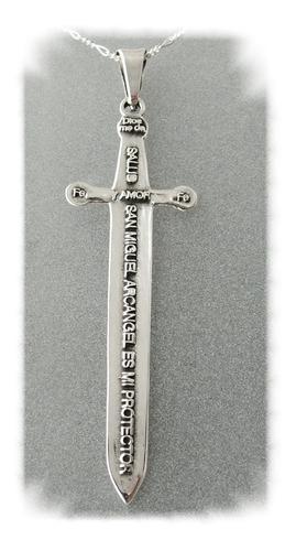 dije de espada de san miguel en plata ley 0.925