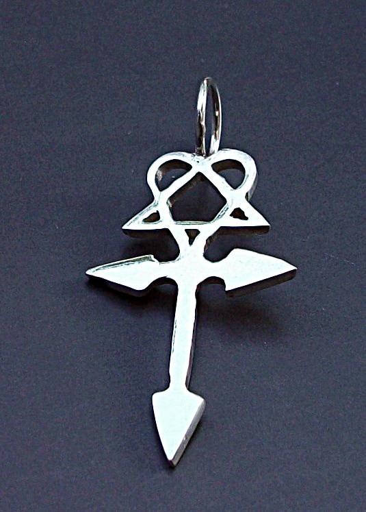 Dije de him heartagram cruz en plata en plata fina ley 925 dije de him heartagram cruz en plata en plata fina ley 925 aloadofball Choice Image