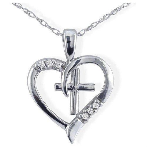 dije de importación corazón 10k white gold cross diamond